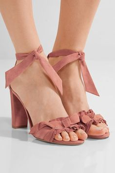Heel measures approximately 90mm/ 3.5 inches Antique-rose suede Ties at ankle Designer color: Dusty Pink ImportedSmall to size. See Size & Fit notes.