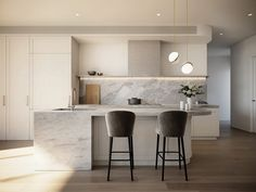 Kairouz Architects inviting kitchen design makes the most of light, & incorporates monochromatic joinery with generous, curved island benches in this project - Accolade, Glen Iris. Contemporary Kitchen Design, Modern House Design, Study Nook, Island Bench, Tall Ceilings, Architect Design, Residential Architecture, Cladding, Small Spaces