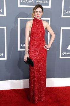 Glamorous Giorgio Armani Red dress for Skylar Grey #Grammys #STYLAMERICAN