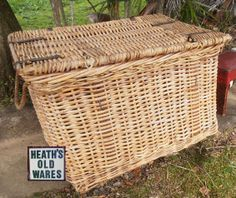 large antique cane wool basket For Sale at Heaths Old Wares Collectables and Industrial antiques 12 station street bangalow open 7 days ph 0266872222 Baskets, Broadway, Tables, Industrial, The Unit, Wool, Street, Antiques, Phone