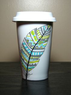Painted Travel Coffee Mug Navajo Feather by PrettyMyDrink on Etsy, $30.00