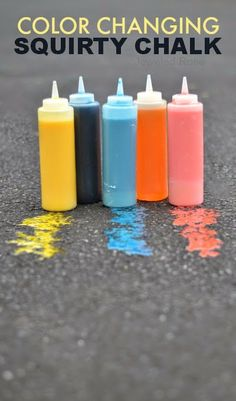 Sidewalk Squirty chalk that magically changes colors  {An easy recipe for fun}