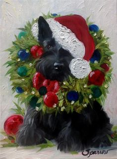 SPARROW Scottish Terrier Scottie Wreath ornaments Christmas Dog Pup Holiday Art Custom orders available inquire at hangingthemoon@gmail.com