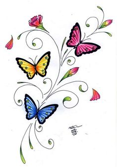 Free Download Fondo Rosado Con Mariposas Negras Pink Butterfly Drawing, Butterfly Tattoo Designs, Butterfly Painting, Butterfly Crafts, Butterfly Wallpaper, Butterfly Design, Bird Design, Pencil Art Drawings, Easy Drawings