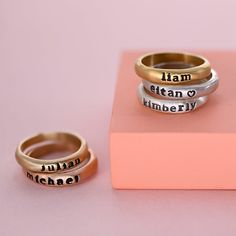 Handstamped Engraved Stacking Name Ring | #etsy #personalized #custom #engraved #womensjewelry #giftforher #stackingrings #engraving #goldring #customized #handstamped #handmade #sterlingsilver925 #momring #giftforgrandma #birthdaygiftideas #christmasgift Grandma Gifts, Gifts For Mom, Hands With Rings, Mom Ring, Name Rings, Mother Rings, Perfect Gift For Mom, Personalized Jewelry, Mother Day Gifts