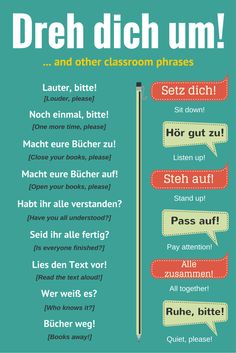 German phrases for classroom. German phrases you might hear your teacher say! Study German, German English, Learn German, Learn English, Learn French, German Language Learning, Language Study, Language Lessons, Learn A New Language