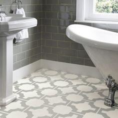 Neisha Crosland vinyl flooring Harvey Maria  Celtic floor pattern in a bathroom