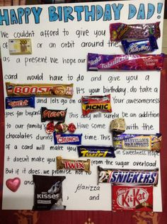 Image detail for -Candy Bar Card for Pastor Don Candy Birthday Cards, Birthday Presents For Mom, Birthday Chocolates, Happy Birthday Dad, Homemade Birthday Cards, Dad Birthday Card, 70th Birthday Parties, Birthday Gifts For Best Friend, Candy Cards