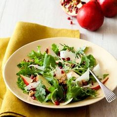 Bartlett pears, toasted walknuts, and shaved Manchego cheese are tossed with baby lettuces for a light and filling Pear and Manchego Salad with Walnut Dressing. Pomegranate seeds offer flavor and healthly benefits.