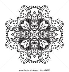 Contemporary doily round lace floral pattern card, circle, mandala  - stock vector
