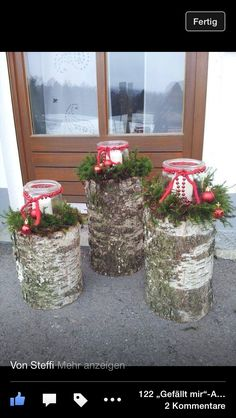 Lanterns… - wood ideas - Windlichter Windlichter More The post Wi. Christmas Porch, Christmas Candles, Primitive Christmas, Country Christmas, Outdoor Christmas, Christmas Holidays, Christmas Wreaths, Christmas Ornaments, Wood Log Crafts