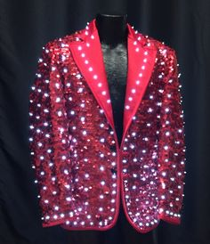 3bffd6b6 Red Sequined Jacket with White LEDs - Enlighted Designs Led Costume, Dance  Costumes, Costume