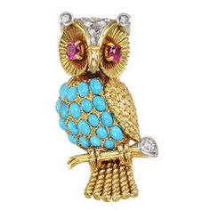 French Gem-Set Gold Owl Pin
