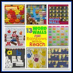 Word Walls in Elementary School: Sight Word Presentation on Bulletin Boards Round-up via RainbowsWithinReach