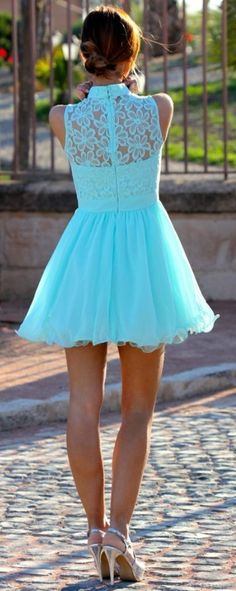 Sleeveless Back Lace Mint Dress