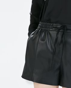ZARA - WOMAN - FAUX LEATHER TIE-WAIST SHORTS