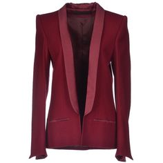 Haider Ackermann Blazer ($395) ❤ liked on Polyvore featuring outerwear, jackets, blazers, maroon, haider ackermann, purple blazer jacket, lapel jacket, maroon blazer and multi pocket jacket