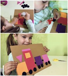 A funny way for kids to practice shapes. Cut shapes out of colored paper and build this colorful train. ❗ Link available on Romanian territory only. Educational Crafts, Colored Paper, A Funny, Crafts For Kids, Train, Colorful, Shapes, Link, Crafts For Children