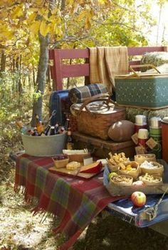 Idées DIY Fêtes : This is the perfect fall picnic! Set it out on your tailgate for a buffet-style . This is the perfect fall picnic! Fall Picnic, Picnic Time, Country Picnic, Picnic Set, Picnic Ideas, Summer Picnic, Image Deco, Fresh Farmhouse, Styling A Buffet