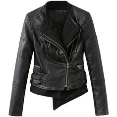 Blackfive Asymmetric Hem Zipped Lapel Leather Jacket ($45) ❤ liked on Polyvore featuring outerwear, jackets, blackfive, women, black, long black jacket, leather jacket, black zipper jacket, black zip jacket et buckle leather jacket