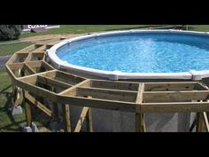 How to build a pool deck for a round above ground pool. A quick and easy way to build a deck around your pool. Above Ground Swimming Pools, Swimming Pools Backyard, In Ground Pools, Above Ground Pool Inground, Lap Pools, Indoor Pools, Wood Pool Deck, Pool Deck Plans, Decking