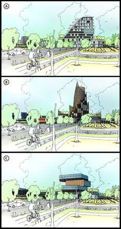 039_Baoji initial sketch drawings for masterplan presentation, CAVE architecture design studio