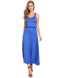 Blue Sleeveless Solid Casual Long Maxi Tank Casual Dress