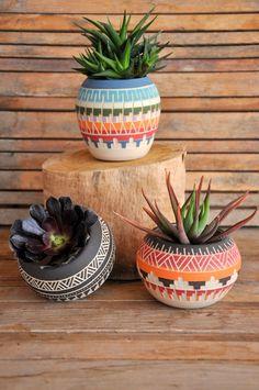 Ready to ship Ceramic planter pottery Navajo inspiration Carved sgraffito Vase…