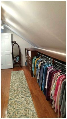 If I ever have an attic. Make the most of your attic -- even with sloped ceilings and short knee walls -- you can turn it into a massive closet! attic storage, walk-in closet design ideas, attic conversion, space saving ideas Attic Closet, Closet Bedroom, Closet Space, Garage Attic, Attic Office, Attic Library, Master Closet, Closet Doors, Attic Renovation