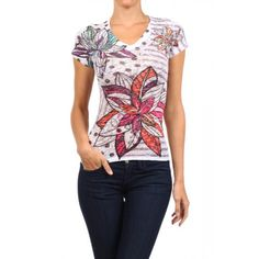 Burnout, printed, V-neck, capped sleeve, top