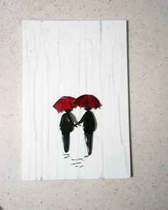 #yağmur # şemsiye #aşk #taştasarım #yürüyüş # tablo #hediyelik # kişiye özel #