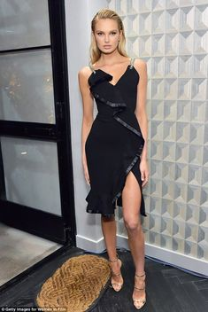 She's got legs: Victoria's Secret Angel Romee Strijd hit the red carpet at pre-Oscar cocktail party in Beverly Hills on Friday