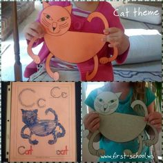 Cat theme activities and crafts suitable for a pet theme or Halloween theme.