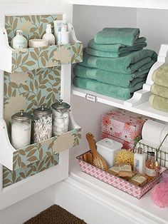 Over 1765 people liked this! Like the racks on the inside of the door Bathroom Storage Ideas for Small Spaces - Corbels as Shelving Dividers - Click Pic for 42 DIY Bathroom Organization Ideas Diy Bathroom, Small Bathroom Storage, Bathroom Organization, Organization Hacks, Organized Bathroom, Bathroom Cabinets, Bathroom Ideas, Bathroom Interior, Bathroom Closet