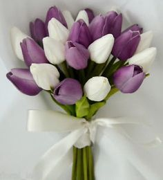 Silk Wedding Bouquet Latex Purple White Tulips Posy Flowers Flower ...