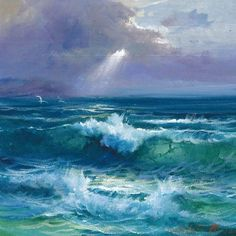 An outstanding landscape painter. Jose Cabello Ruiz – My CMS Ocean Art, Ocean Waves, Seascape Paintings, Landscape Paintings, Indian Paintings, Painting Art, Painting Prints, Ocean Pictures, Landscape Concept