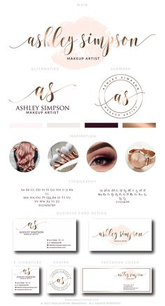 Makeup Logo Design Lips Logo Design Rose gold Branding kit