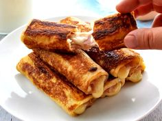 French toast you can eat with your hands and taste like ham and cheese toasties! Fast to make, these Ham and Cheese French Toast Roll Ups are great for feeding an army AND you can even make them ahead. Cheese Toasties, Potato Corn Chowder, French Toast Roll Ups, Christmas Ham, Best Seafood Recipes, Recipetin Eats, Ham And Cheese, Cannoli, Breakfast Recipes