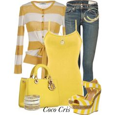 """""""Stripped Cardigan"""" by coco-cris-1 on Polyvore"""