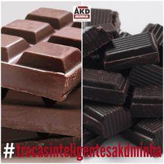 Essa troca não é difícil, já que o chocolate amargo também é uma delícia. Porém, ele é muito mais saudável: tem mais fibras, mais ferro, mais proteína, menos sódio, menos carboidrato, menos açúcar e MAIS CACAU, que é um ótimo antioxidante! Ou seja, a gente não precisa cortar o chocolate da nossa vida, é só passar a comer o amargo (quanto maior a % de cacau, melhor!) e não devorar a barra inteira de uma só vez! É possível manter o peso sem sofrimento!