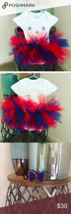 PATRIOTIC ONESIE TUTU WITH MATCHING HEADBAND Newborn patriotic onesie tutu with matching headband. Other sizes available.  Please inquire with a direct message. One Pieces Bodysuits