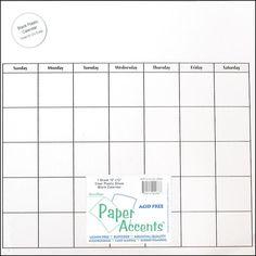Clear, plastic calendar sheet for my menu board