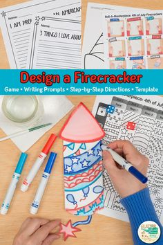 Searching for unique 4th of July crafts that your students will love? Try this firecracker roll and draw art game! Going to be absent? Fill up your art sub plans folder with no-prep art projects for kids. Use the included writing prompts to make a beautiful, educational bulletin board display. Great for classroom teachers and homeschooling parents looking for art integration lessons. | Glitter Meets Glue #4thofjuly #artproject #teacher #artlesson #teaching Easy Art Projects, Drawing Projects, Projects For Kids, Crafts For Kids, Drawing Activities, Drawing Games, Drawing For Kids, Art Games For Kids, Activities For Girls
