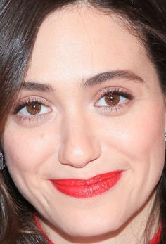 Close-up of Emmy Rossum at Godiva's 2015 Hot Cocoa for a Cause event.
