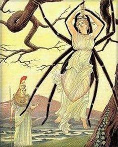 48 – Es famoso su duelo con la altiva princesa Aracne, para establecer quien de las dos podía tejer la prenda más hermosa. Después de perder el desafío, Atenea convirtió en araña a la ganadora, condenándola a tejer eternamente redes de gran belleza pero de absoluta fragilidad.