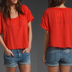 "NEW We The Free Free People Cherry Top New We the Free by Free People gauze type top in ""cherry."" The color is between red and orange. Rayon cotton blend. Raw edge neckline and fold over sleeves. This is a PETITE Small. Ask questions, no returns Free People Tops"