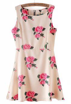 Apricot Sleeveless Back Zipper Rose Print Dress - Sheinside.com