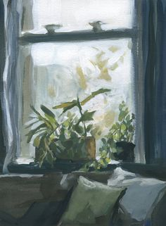 Plants on the windowsill Montreal Gouache on paper Painted Stories by Michelle Darwin Fall light overcast light interior painting painting of light plants houseplants i. Plant Painting, Plant Art, Artist Painting, Light Painting, Painting Inspiration, Art Inspo, Sad Paintings, Ivy Plants, Potted Plants