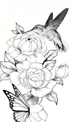 Flower Tattoo Drawings, Butterfly Drawing, Bird Drawings, Tattoo Sketches, Art Sketches, Tattoo Flowers, Butterfly Sleeve Tattoo, Butterfly With Flowers Tattoo, Rose Drawings