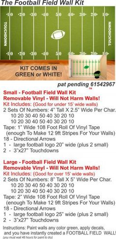 Football Field Wall Kit 2  SMALL KIT by liveoakpro on Etsy, $42.00